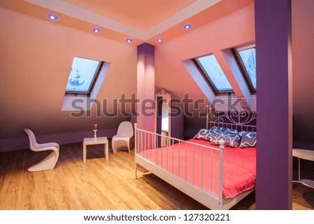 Amaranth house - Sweet girlish pink bedroom interior - stock photo