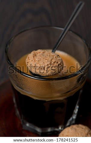 amaretti almond cookies and espresso, selective focus, vertical - stock photo