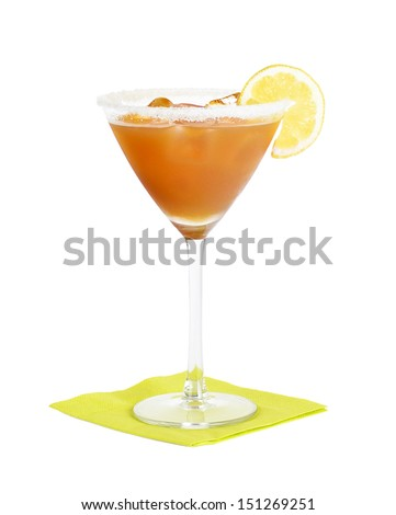 Amaretto Sour Cocktail - Short drink made with Amaretto liqueur, sweet and sour mix in a martini glass. - stock photo
