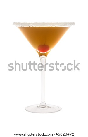 Amaretto Sour mixed drink with cherry on white background - stock photo