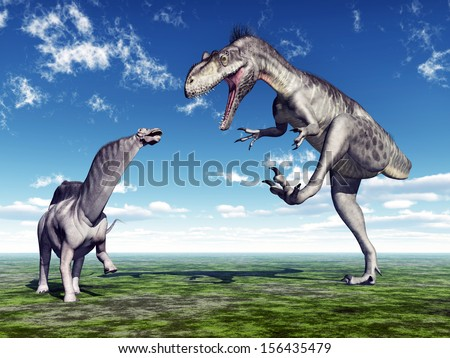 Amargasaurus and Megalosaurus Computer generated 3D illustration - stock photo