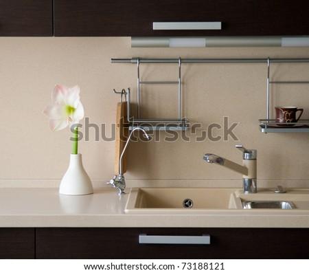 Amaryllis in kitchen interior - stock photo