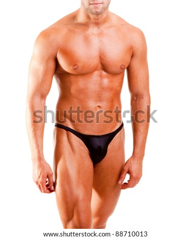 amateur bodybuilder posing over white background - stock photo