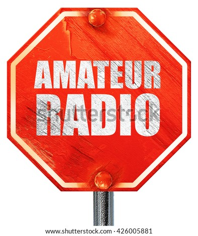 amateur radio, 3D rendering, a red stop sign - stock photo