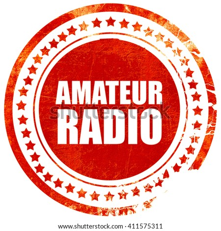 amateur radio, red grunge stamp on solid background - stock photo