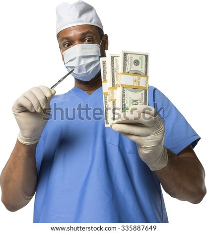 Amazed African surgeon in uniform holding money - Isolated
