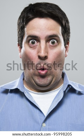 Amazed and excited man - stock photo