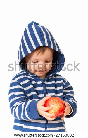 amazed baby with red apple - stock photo