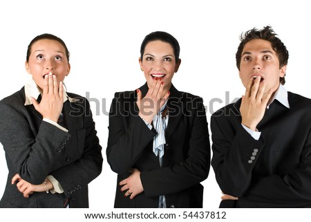 Amazed business people standing in a line and looking up - stock photo