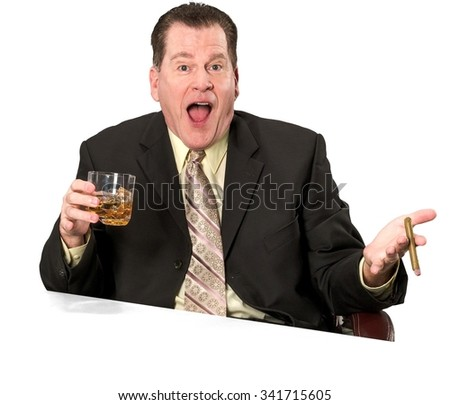 Amazed Caucasian elderly man with short medium brown hair in business formal outfit using office chair - Isolated