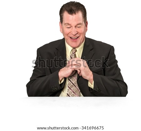 Amazed Caucasian elderly man with short medium brown hair in business formal outfit with clasped hands - Isolated