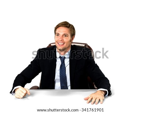 Amazed Caucasian man with short medium blond hair in business formal outfit - Isolated
