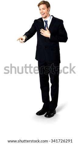 Amazed Caucasian man with short medium blond hair in business formal outfit with hands on chest - Isolated