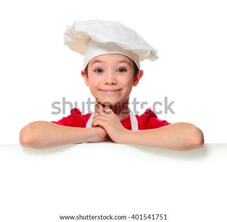 Amazed chef boy isolated on white background - stock photo