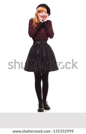 amazed cute lady looking down form an edge of a platform isolated on white background - stock photo