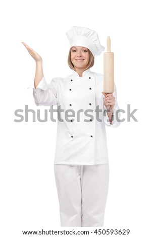 amazed female chef, cook or baker with rolling pin isolated on white background
