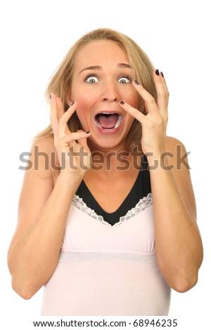 amazed girl portrait isolated over withe background - stock photo