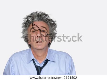 Amazed gray-haired senior. - stock photo