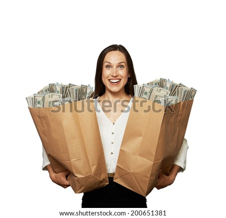 amazed happy woman with money over white background - stock photo