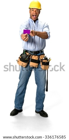 Amazed Male Construction Worker with short black hair in uniform holding business card - Isolated - stock photo