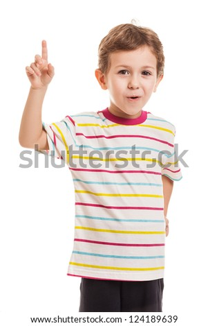 Amazed or surprised child boy gesturing exclamation point finger sign - stock photo