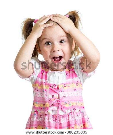 Amazed or surprised child girl hands holding head isolated - stock photo
