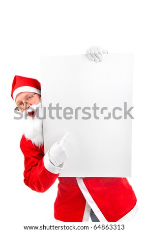 amazed santa claus with big blank card