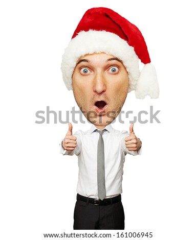 amazed santa man showing thumbs up isolated on white background