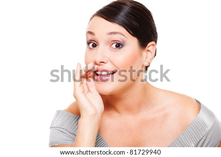 amazed woman telling gossip over white background