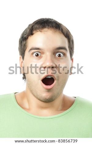 amazed young man portrait isolated on white background - stock photo