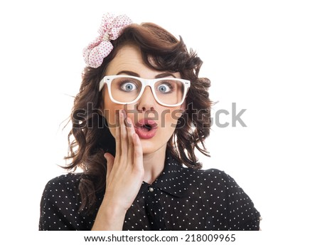 Amazedly young woman with open mouth, isolated on white. Surprised or astonished funny girl - stock photo
