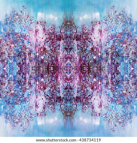 Amazing abstract painting,violet and blue colors,hand painted - stock photo