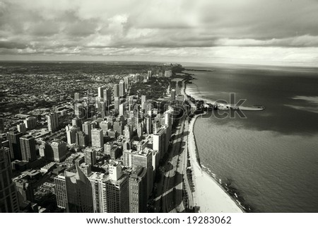 Amazing aerial view of chicago skyline - stock photo