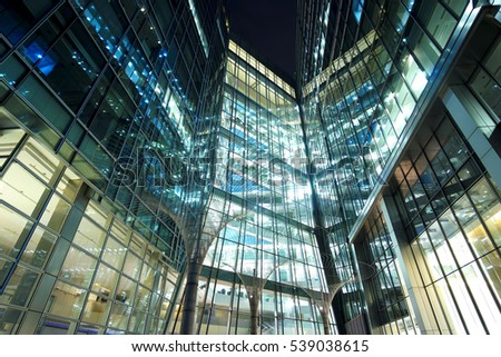 Amazing architecture at Canary Wharf in London - LONDON / ENGLAND - DECEMBER 14, 2016