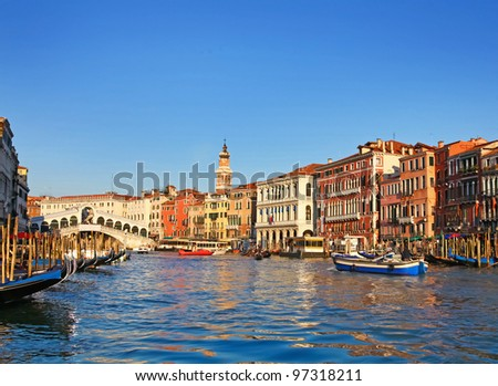 Amazing architecture of Venice from view of Grand Canal and Rialto Bridge, Italy - stock photo
