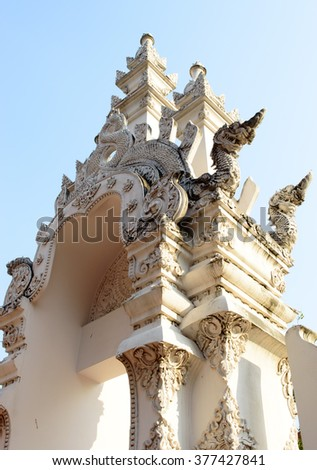 Amazing art temple gate and head dragon statues at Chedi luang temple public tourist attraction of Chiang mai Thailand