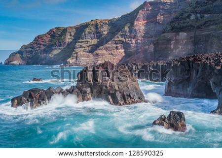 Amazing atlantic ocean view with rocks, San Miguel (Sao Miguel) island, Azores - stock photo