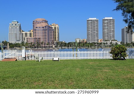 Amazing backyard view of downtown West Palm Beach, Florida - stock photo
