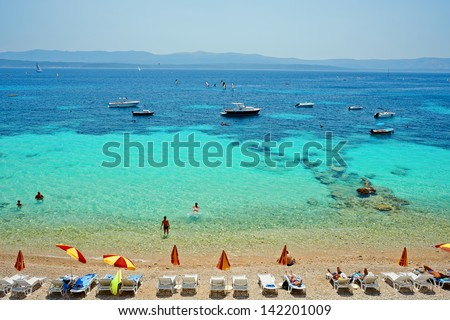 Amazing beach with clear sea water on the Adriatic island Brac in Croatia - stock photo