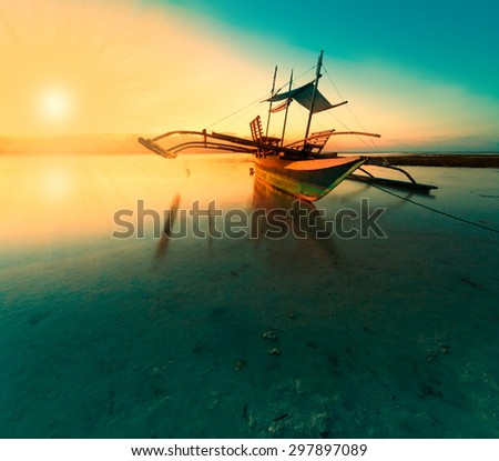 amazing beautiful fantastic fairy sunset boat sea tropical nature background travel holiday luxury  resort island atoll coral reef sunny summer - stock photo