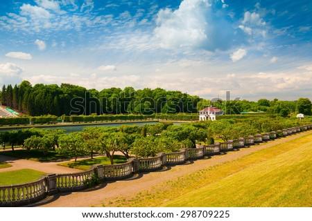 amazing beautiful landscape old historical garden building palace Peterhof city saint petersburg north country russia UNESCO world heritage luxury grand - stock photo