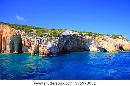 Amazing Blue caves at the cliff of Zakynthos island, Greece - stock photo