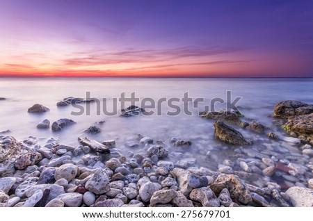 amazing bright after sunset marine seascape - stock photo