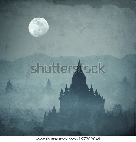 Amazing castle silhouette under moon at mysterious night. Fantasy grunge background in vintage style - stock photo