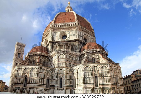 Amazing Cathedral of Santa Maria del Fiore (Il Duomo di Firenze), Florence, Italy. The basilica is one of Italy's largest churches, UNESCO World Heritage Site  - stock photo