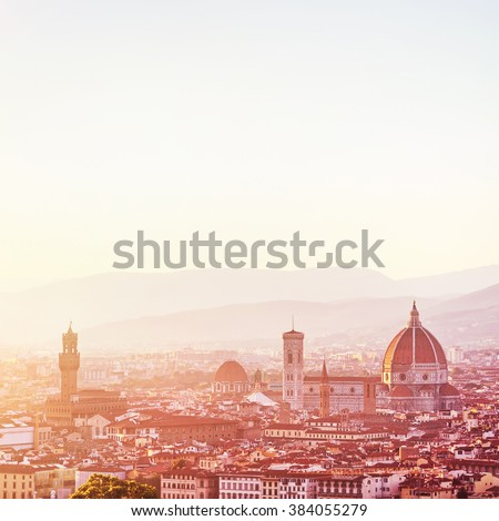 Amazing cityscape, Cathedral Saint Mary of the Flower on sunset, Basilica di Santa Maria del Fiore in Tuscany Florence, Italy, Europe - stock photo