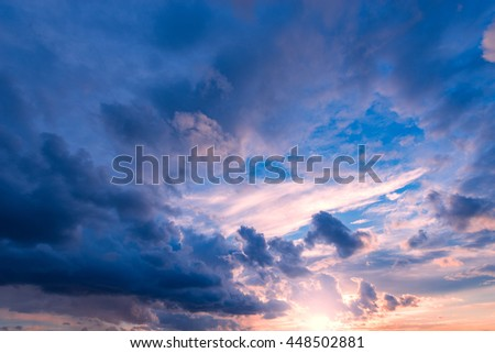 Amazing cloudscape on the sky at sunset time after rain. - stock photo