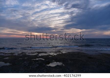 Amazing Cloudy Sunset - stock photo