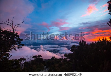 amazing color of sunset from the highest mountain of Borneo Malaysia