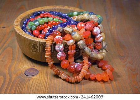Amazing colorful beads made of natural stones - stock photo